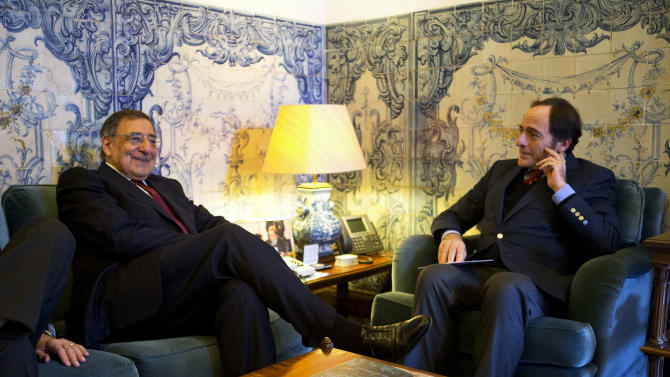 U.S. Defense Secretary Leon Panetta, left, meets with Portugal's Foreign Minister Paulo Portas at the Ministry of Foreign Affairs in Lisbon, Portugal, on Tuesday, Jan. 15, 2013, on what is expected to be his last overseas trip as secretary. (AP Photo/Jacquelyn Martin)