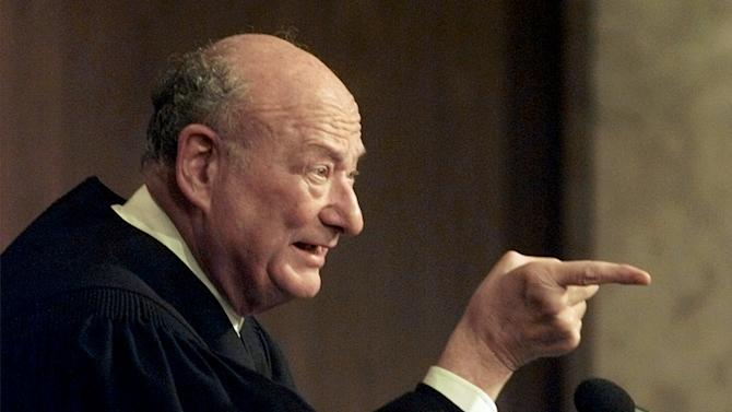 "FILE - In this Aug. 21, 1997 file photo, former New York Mayor Ed Koch, now the presiding judge on ""The People's Court,"" tapes a show at a New York studio. Koch died Friday, Feb. 1, 2013 from congestive heart failure, spokesman George Arzt said. He was 88. (AP Photo/Mark Lennihan, file)"