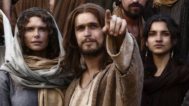 Mother Mary (Roma Downey), Jesus (Diogo Morgado), and Mary Magdalene (Amber Rose Revah) in &quot;The Bible.&quot;