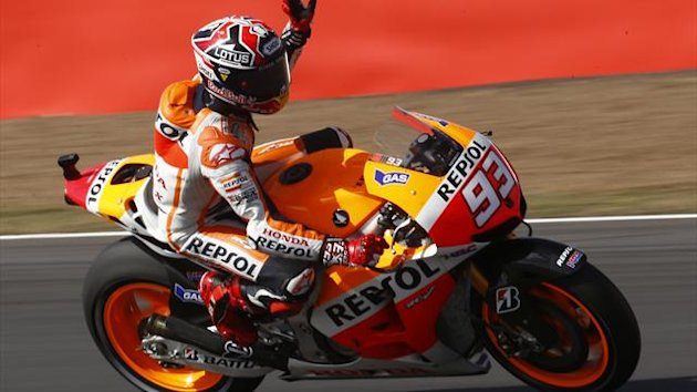 Honda MotoGp rider Marc Marquez of Spain acknowledges the crowd ahead of the British Grand Prix at Silverstone (Reuters)
