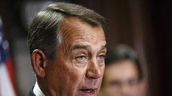 FILE - This April 29, 2014 file photo shows House Speaker John Boehner of Ohio speaking on Capitol Hill in Washington. Boehner says he'll establish select House committee to investigate Benghazi attack. (AP Photo, File)