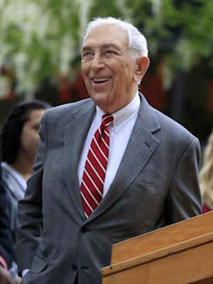 "FILE - In this May 3, 2012 file photo, U.S. Sen. Frank Lautenberg, D-N.J. smiles as he stands on the Rutgers-Camden campus in Camden, N.J. Lautenberg, at age 88 the oldest sitting U.S. senator, said Tuesday, Jan. 22, 2013 that the mayor of the state's largest city is entitled to run next year for the seat he now holds _ but he did not yet reveal his own plans. Newark Mayor Cory Booker likely won't be the only candidate ""drooling at the mouth"" over the job, Lautenberg noted while talking with reporters in Washington. (AP Photo/Mel Evans, File)"