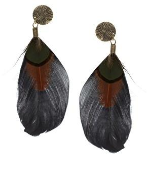Asos feather earrings, $13.79, at Asos