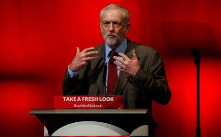 Jeremy Corbyn, leader of Britain's opposition Labour Party addresses the Scottish Labour Party conference in Perth, Scotland