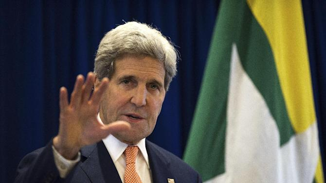 U.S. Secretary of State John Kerry speaks during a press conference, concluding his visit to Myanmar for Ministerial Meetings of the Association of Southeast Asian Nations (ASEAN) in Naypyitaw, Myanmar, Sunday, Aug 10, 2014. (AP Photo/Nicolas Asfouri, Pool)