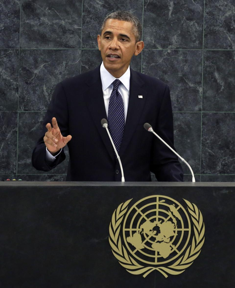 President Barack Obama addresses the 68th session of the United Nations General Assembly, Tuesday, Sept. 24, 2013. (AP Photo/Richard Drew)