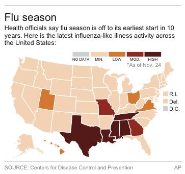 Map of influenza-like illness activity in the United States.