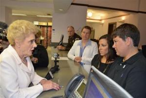 Anna Guillot and Chrissy Kelly apply for a marriage license in Jackson