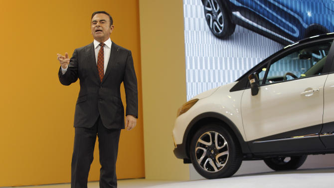 CEO of Renault and Nissan Carlos Ghosn delivers a speech to present the new Renault Captur during the first media day of the 83rd Geneva International Motor Show, Switzerland, Tuesday, March 5, 2013. The Motor Show will open its gates to the public from March 7 to 17.  (AP Photo/Laurent Cipriani)