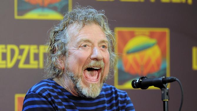 """Led Zeppelin singer Robert Plant participates in a press conference ahead of the worldwide theatrical release of """"Celebration Day"""", a concert film of their 2007 London O2 arena reunion show, at the Museum of Modern Art on Tuesday, Oct. 9, 2012 in New York. (Photo by Evan Agostini/Invision/AP)"""