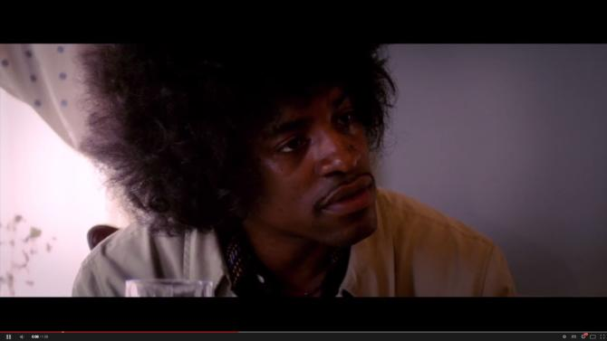 "Video screenshot: André Benjamin as Jimi Hendrix in ""Jimi: All Is By My Side"""