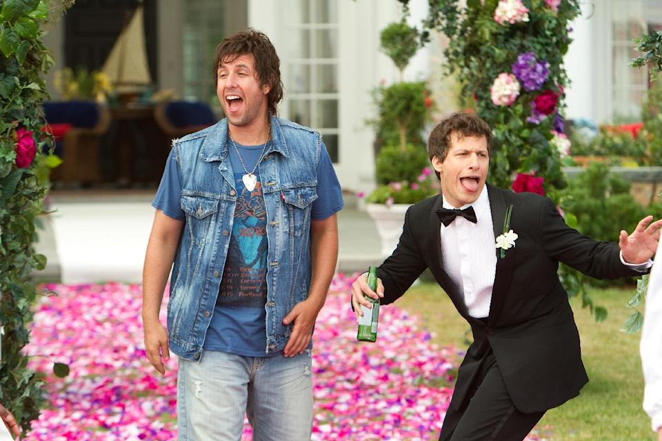 "This film image released by Columbia Pictures shows Adam Sandler, left, and  Andy Samberg in a scene from ""That's My Boy."" (AP Photo/Columbia Pictures - Sony, Tracy Bennett)"