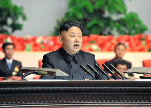 North Korean leader Kim Jong-un makes a speech at the national meeting of light industrial workers in Pyongyang