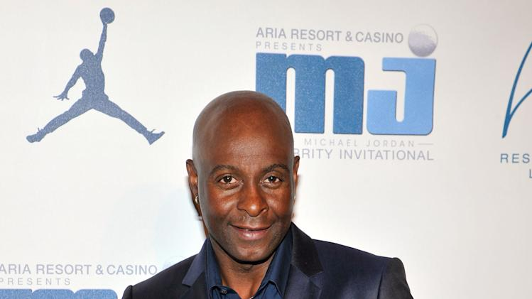 IMAGE DISTRIBUTED FOR JORDAN - Retired Hall of Fame National Football League player Jerry Rice arrives at the Michael Jordan Celebrity Invitational opening night dinner on Wednesday, April 3, 2013 in Las Vegas. (Photo by Jeff Bottari/Invision for Jordan/AP Images)