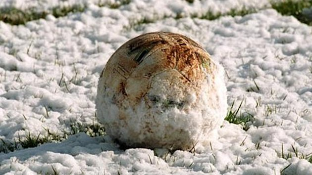 Generic Football covered in snow