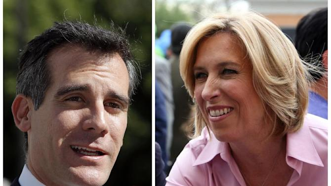 This combo shows a Feb. 20, 2013 file photo of Los Angeles mayoral candidate Eric Garcetti speaking to media in Los Angeles, left, and undated image provided by the Wendy Greuel Campaign of mayoral candidate Greuel meeting with voters. The likely outcome in the heavily Democratic city will send two City Hall regulars, Eric Garcetti, 42, and Wendy Greuel, 51, to a May 21 runoff, since it's unlikely any candidate will clear the majority needed to win outright Tuesday.  (AP Photo)