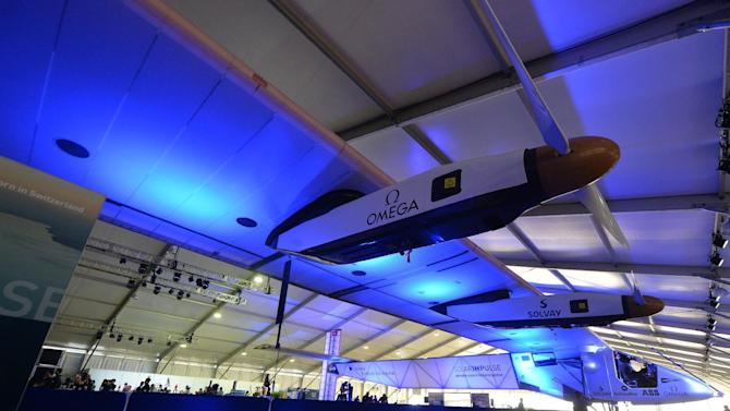 The Solar Impulse 2 undergoes maintainance in a hangar in Lukou International Airport in Nanjing