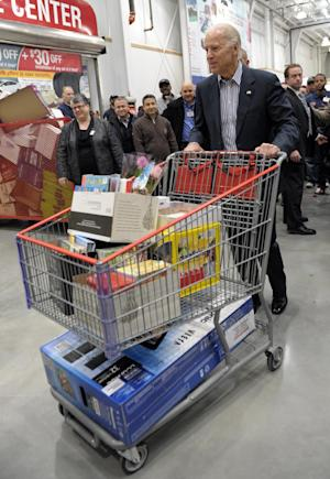 Vice President Joe Biden pushes his cart after shopping at Costco in Washington, Thursday, Nov. 29, 2012. Biden went shopping for presents and to highlight the importance of renewing middle-class tax cuts so families and businesses have more certainty at this critical time for our economy. (AP Photo/Susan Walsh)
