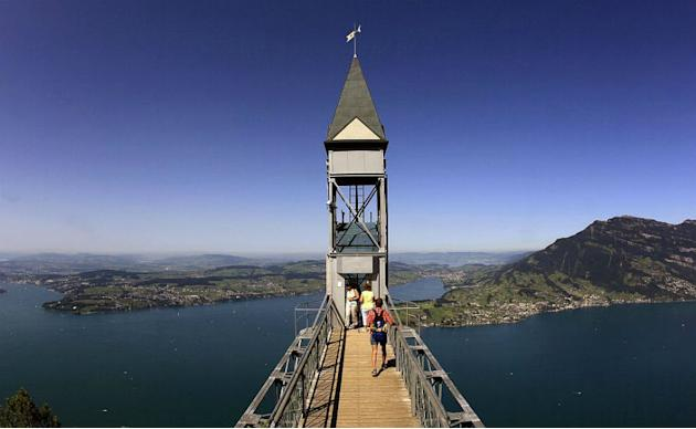People leave the Hammetschwand Lift, Europe's highest exterior elevator, to reach the lookout point Hammetschwand at the Bürgenstock plateau overlooking Lake Lucerne.