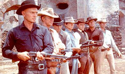 Yul Brynner , Steve McQueen , Horst Buchholz , Charles Bronson , Robert Vaughn , Brad Dexter and James Coburn in MGM's The Magnificent Seven