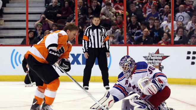 Kimmo Timonen #44 Of The Philadelphia Flyers And Team Chara Takes A Shot On Henrik Lundqvist #30 Of The New York Getty Images
