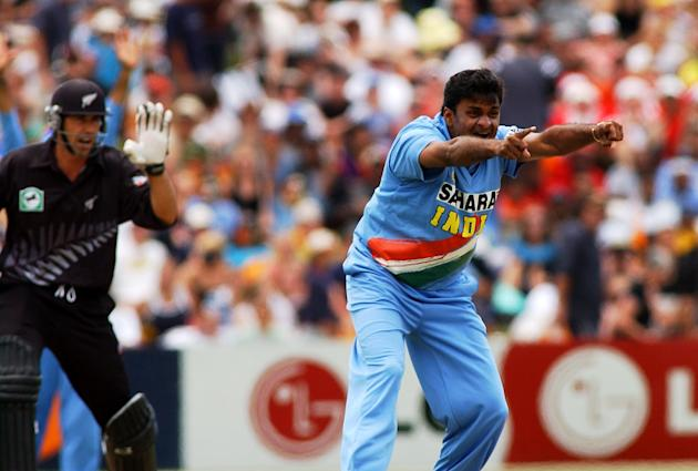 India's Javagal Srinath, right, appeals the lbw wi
