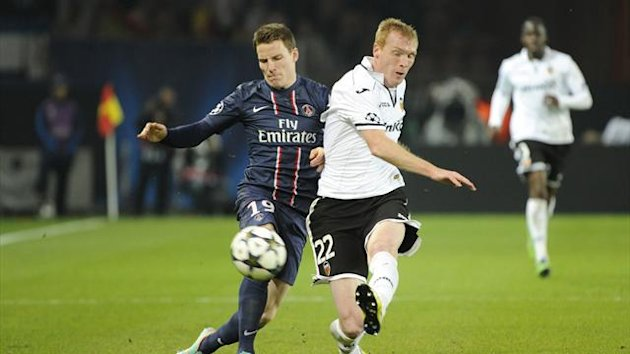 Valencia v PSG: Jeremy Mathieu and Kevin Gameiro