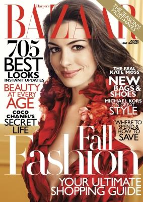 Anne Hathaway on the cover of Harper's Bazaar, August 2011 -- Harper's Bazaar