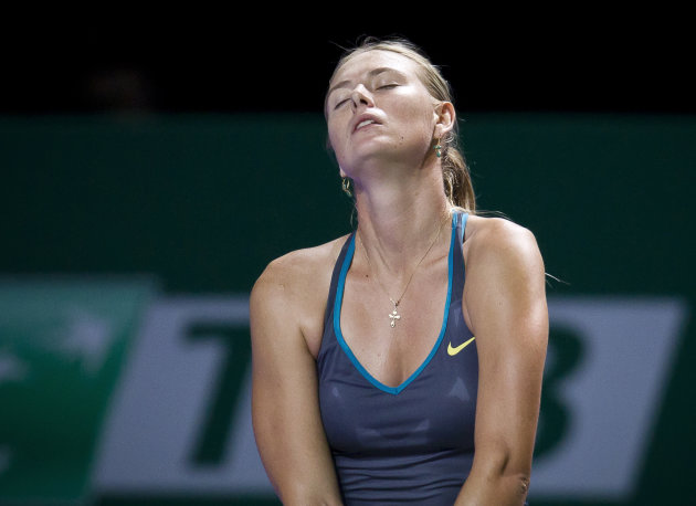 Maria Sharapova of Russia reacts during a tennnis match against Samantha Stosur of Australia at the WTA championship in Istanbul, Turkey, Tuesday, Oct. 25, 2011. Sharapova lost to Stosur 6-1, 7-5. (AP