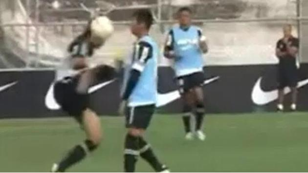 South American Football - Brazilian defender smashes team-mate in chest in training