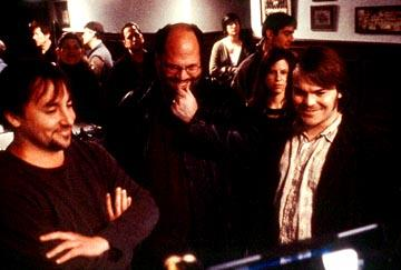 Director Richard Linklater , producer Scott Rudin and Jack Black on the set of Paramount's The School of Rock