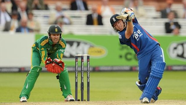 England's Ian Bell (right) hits a six watched by South Africa's AB de Villiers during the fourth one-day international cricket match at Lord's  (Reuters)