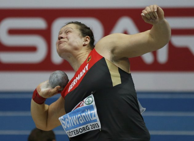Schwanitz of Germany competes in the Shot Put Women Final at the European Athletics Indoor Championships in Gothenburg