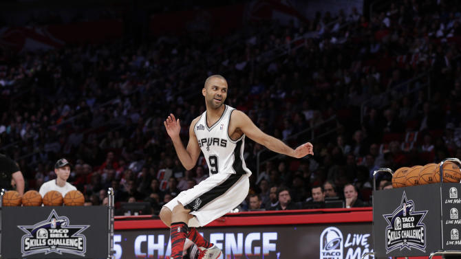 Tony Parker, from France and of the San Antonio Spurs, participates in the skills challenge during NBA All-Star Saturday Night basketball Saturday, Feb. 16, 2013, in Houston. (AP Photo/Eric Gay)