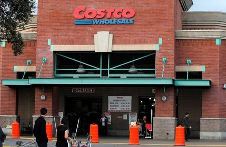 Shoppers are pictured outside a Costco Wholesale store in Los Angeles