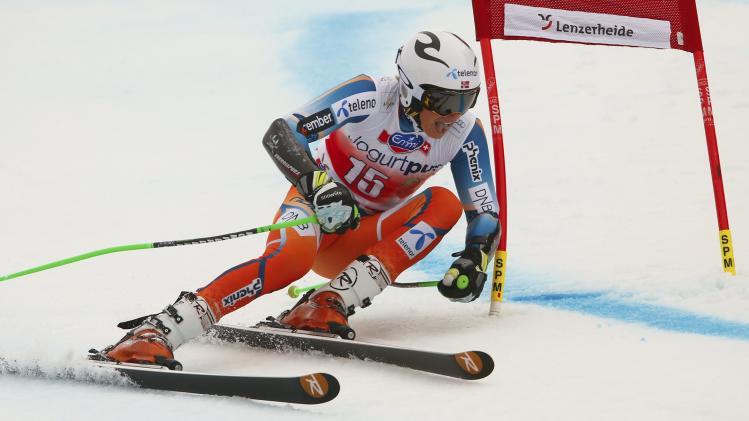 Kristoffersen of Norway competes during the second run of the men's giant slalom at the FIS Alpine Skiing World Cup Finals in Lenzerheide