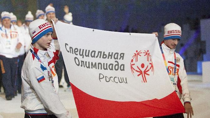 The Russia Special Olympics team enters Arena stage at the YongPyong dome during the 2013 Special Olympics World Winter Games opening ceremony in PyeongChang, South Korea on Tuseday, Jan. 29, 2013. About 2,300 athletes from 110 countries are participating in seven sports, such as snowboarding, alpine skiing and figure skating, and one demonstration sport, floorball. (Manchul Kim/AP Images for Special Olympics)
