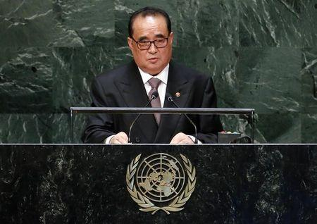 North Korea's Minister for Foreign Affairs Ri Su Yong addresses the 69th session of the United Nations General Assembly at the U.N. headquarters in New York