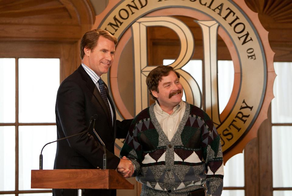 "This film image released by Warner Bros. shows Will Ferrell as Cam Brady, left, and Zach Galifianakis as Marty Huggins in a scene from ""The Campaign."" (AP Photo/Warner Bros., Patti Perret)"
