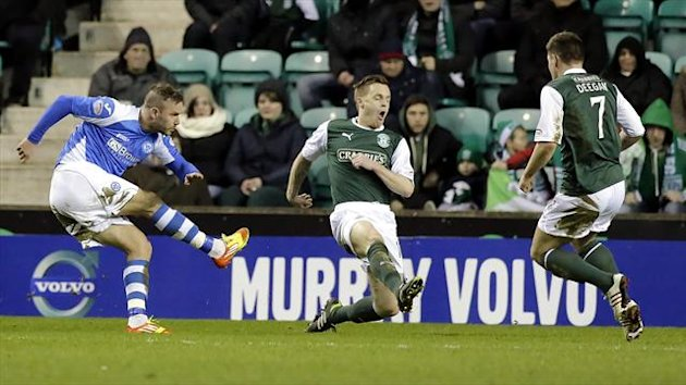 Rowan Vine, left, scores his second goal of the night for St Johnstone against Hibernian