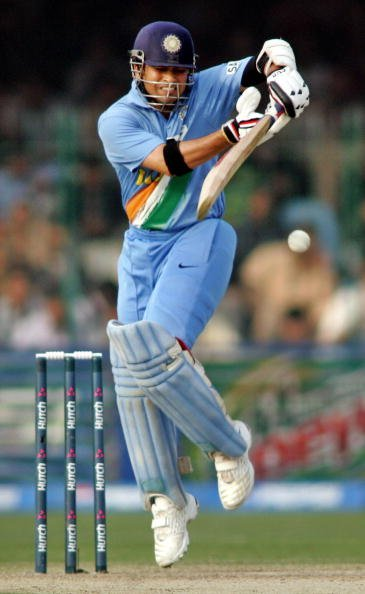 Indian cricketer Sachin Tendulkar plays
