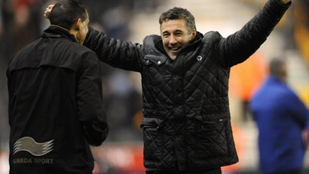 Wolverhampton Wanderers manager Dean Saunders celebrates the equalising goal (PA)
