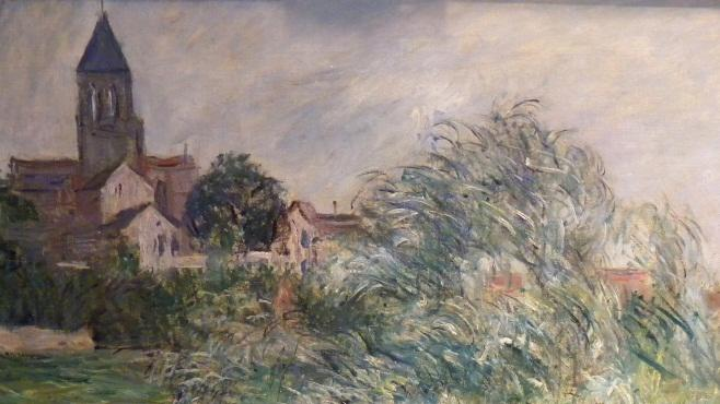 "In this photo provided by the United States Attorney's Office in New York shows an  1881 painting by Impressionist master Claude Monet entitled ""L'Eglise et La Seine a Vetheuil.""  Vilma Bautista, one time secretary to Philippine's first lady Imelda Marcos, was indicted in New York, Tuesday, Nov. 20, 2012, on charges of conspiracy, tax fraud and offering a false instrument for filing for attempting to illegally sell this work and others that disappeared as Ferdinand Marco's regime collapsed in the late 1980's. (AP Photo/United States Attorney's Office)"