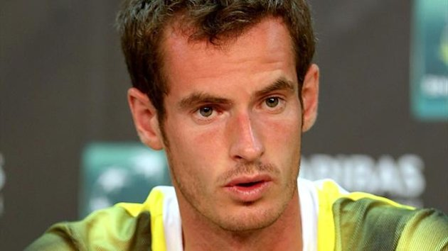 Andy Murray fields questions from the media at a press conference during the BNP Paribas Open at the Indian Wells Tennis Garden (AFP)