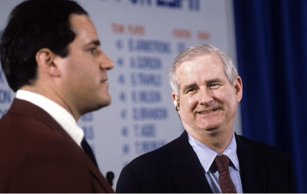 "In this undated photo provided by ESPN, host Chris Berman, left, and and college football commentator Carroll ""Beano"" Cook are shown discussing the NFL Draft. Cook died in his sleep Thursday, Oct. 10,"
