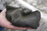 A Viking-era woollen mitten found by a shrinking glacier in the mountains of south Norway in 2011 is seen in this undated handout picture released by the Oppland county council March 21, 2013. REUTERS/Oppland county council/Handout