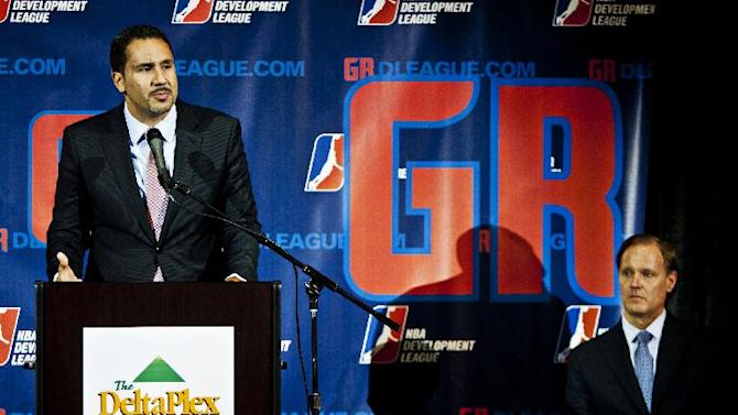 NBA Development League president Dan Reed speaks during a news conference in Grand Rapids, Mich., Tuesday, April 15, 2014. The Springfield Armor is relocating from Springfield, Mass., to Grand Rapids in western Michigan and the team will be affiliated with the Detroit Pistons beginning with the 2014-15 season