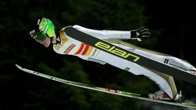 Slovenia's Peter Prevc soars in the air during FIS Ski Jumping World Cup competition in Trondheim