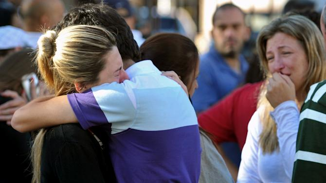 Relatives of victims react near the Kiss nightclub in Santa Maria city,  Rio Grande do Sul state, Brazil, Sunday, Jan. 27, 2013.  According to police more than 200 died in the devastating nightclub fire in southern Brazil.  Officials say the fire broke out at the club while a band was performing. (AP Photo/Ronald Mendes-Agencia RBS)
