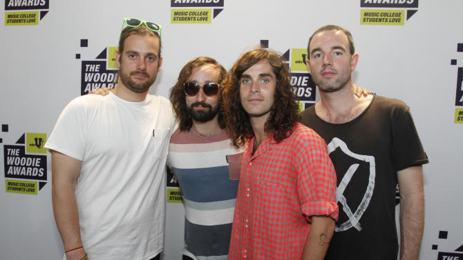 Youngblood Hawke pose backstage at the mtvU Woodie Awards on Thursday, March 14, 2013. (Photo by Jack Plunkett/Invision for MTV/AP Images)